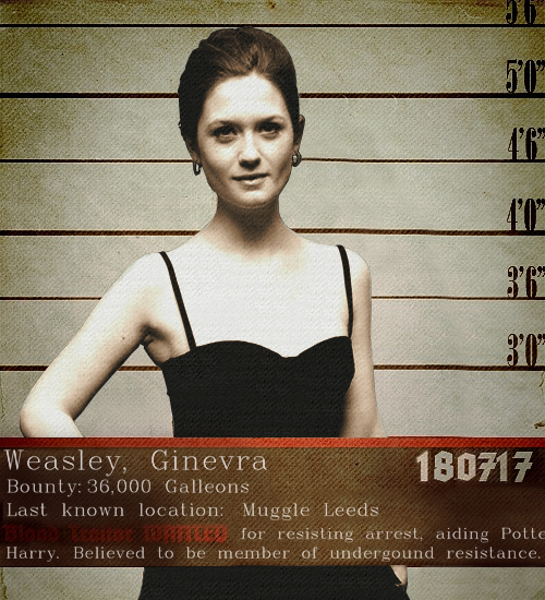 Ginny Weasley Wanted Poster Lost Between The Letters